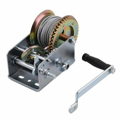 NEW 10M Cable Hook Manual Winch 2500lbs Trailer Marine Hand Power Puller Vehicle