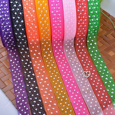25mm Heart Printed Sheer Organza Ribbons Embroidered Trimmings Bow Party Sewing