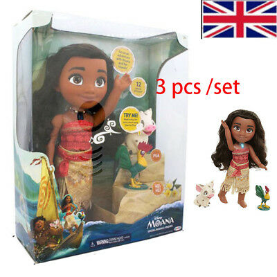Adorable Singing Moana & Friends Action Figures Doll Light&Movie Song Kids Toys