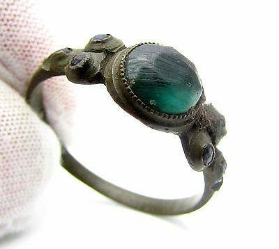 Late/post Medieval Ring W/ 7 Blue Stones / Gem - Rare Artifact Wearable - F155