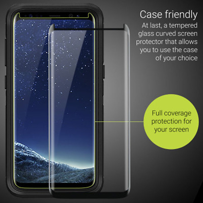 Galaxy S8 S8+ Plus 3D Case Friendly Tempered Glass Screen Protector for Samsung