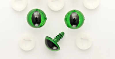 CATS GREEN SAFETY TOY EYES METAL BACKS 9 mm Soft Toy Animal Craft  x 5 sets