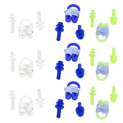 12 Pcs Plastic Nose Clip + Ear plug Set for Swimming M4K5