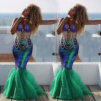 Sexy Beauty Mermaid Women Costume Fancy Party Sequins Long Dress Tail Full Skirt