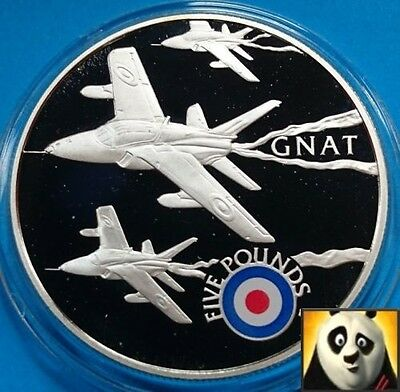 2008 ST HELENA £5 Five Pound History of RAF GNAT Plane Silver Proof Coin