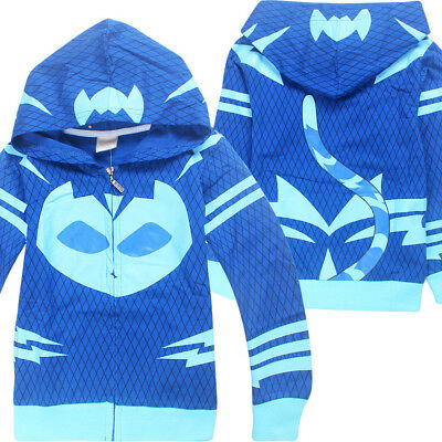 PJ Masks Costume Clothing Hoodies Long Hooded Coat Clothes Tops Fancy Dress Up