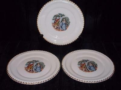 "Harker Pottery Colonial Couple 22 Kt. Gold Trimmed 6 1/4"" Plates"