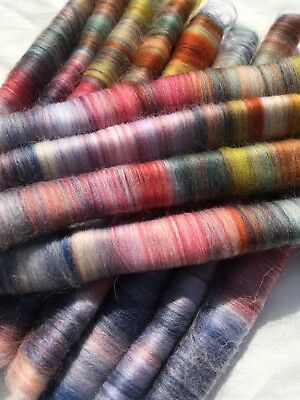 Hand Carded Rolags Fine Merino Wool 50g Spinning Felting multi coloured