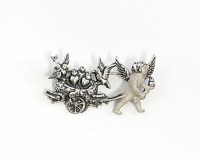 925 Silver Art Nouveau brooch Amor with Carriage & shag 9901555