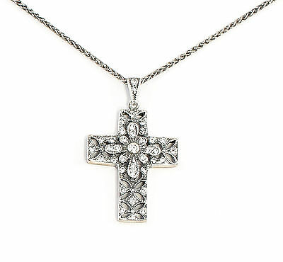 925 Silver Art Nouveau Pendant Cross on chain with Swarovski Stones 9901648