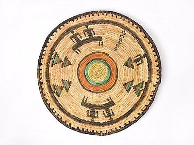 "Vintage African Seagrass Hand-Woven Hausa Coil Basket/tray W/figures 13"" Nigeria"