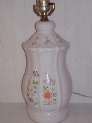 Sears Federalist Ironstone COUNTRY FRENCH ELECTRIC LAMP!  White w/Floral Pattern