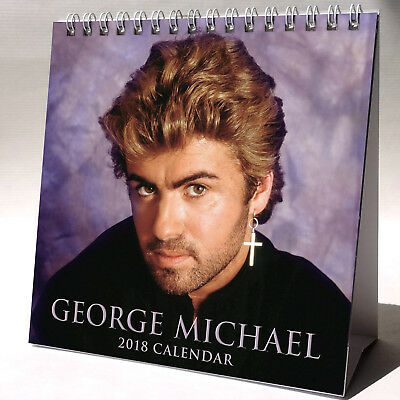 George Michael Desktop Calendar 2018 NEW + FREE GIFT 3 Stickers Last Christmas