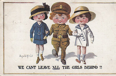"OLD P/C "" WE CAN'T LEAVE ALL THE GIRLS BEHIND ""  1916 DONALD McGILL WW1"