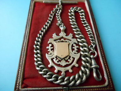 ANTIQUE SOLID SILVER ALBERT CHAIN & FOB 9ct GOLD SHIELD FOB NOT SCRAP 40.6grm