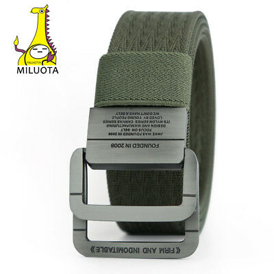Military Equipment Tactical Belt Man Double Ring Buckle Thicken Canvas Belts For