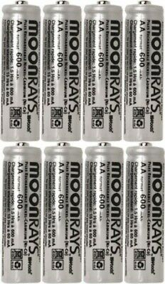 Moonrays 47740SP Rechargeable NiCd AA Batteries for Solar Powered Units, 8Pack
