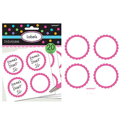 Scalloped Paper Labels- Bright Pink (20)