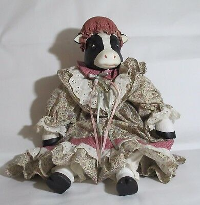 Vintage Cloth And Ceramic Country Cow Doll Gingham Dress