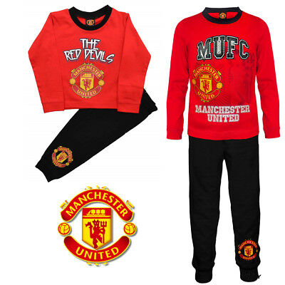 Kids Boys Official Manchester United Cotton Pyjama Set PJ's Nightwear Sleepwear