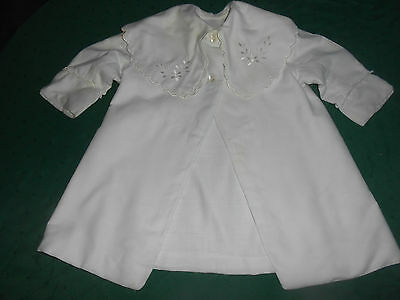 Antique White Cotton Baby Coat With Silk Hand Embroidery, Early 20Th. Century