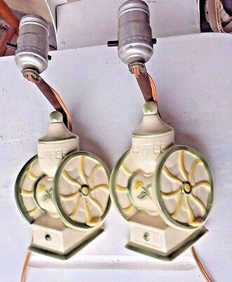 Pair Coffee Grinder Wall Lights, Sconce, Ceramic, Electric, 1940's, Kitchen