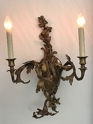 Antique Brass Sconces, French