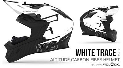 2018- 509 Altitude Carbon Fiber Snowmobile Helmet White Trace Xl 509-Hel-Acw8-Xl