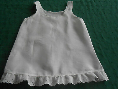 Antique Baby Slip In Good Condition With Eyelet Ruffle And Lace Trim, Circa 1940