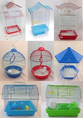 UK New Metal Bird Cage Budgie Canary Finch Parrot Large Small Birdcage Tall