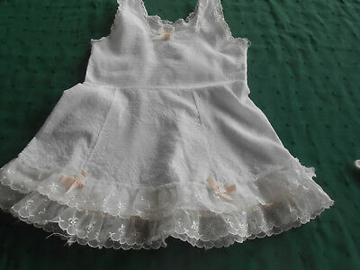 Baby Slip, White Cotton Plisse' With Ribbon And Nylon Lace Trim, Circa 1950