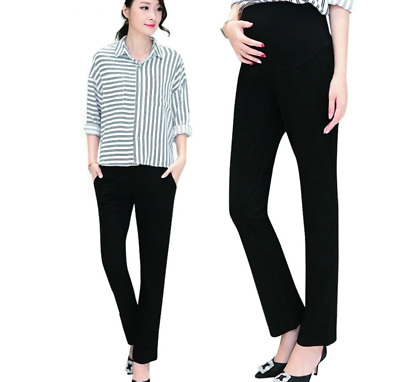 Maternity Over the Bump Slim Fit Black Stretch Smart Work Trousers sizes