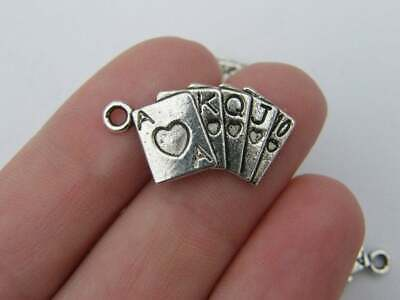 SC1062 10 Heart Charms Antique Silver Tone with Lovely Beaded Edge