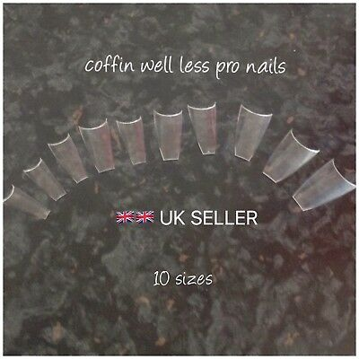200  Clear  Coffin Shaped Pro Tips Well Less With Box And Latest Cuticle Tool 💅