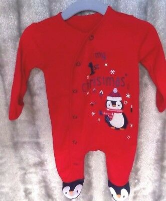 Babies My First Christmas Sleepsuit Babygrow First Size 9lbs 50-56cm George