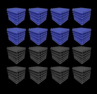 Acoustic Foam 96 pc Blue and Charcoal Gray tiles 12x12x2 inch Bundle PackAcousti
