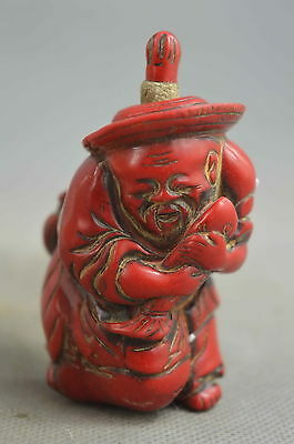 Collection Handwork Coral Carve Fisherman Hold Fish Harvest Wealthy Snuff Bottle
