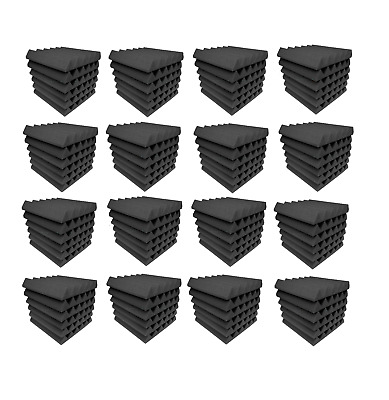 Acoustic Foam 96 pc Charcoal Gray tiles 12x12x2 inch Studio Pack soundproofing