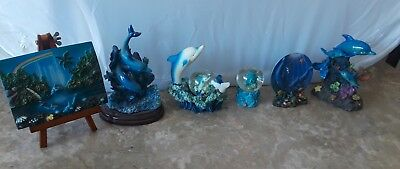 Lot 6 Dolphins Figurines Water Globes Easel