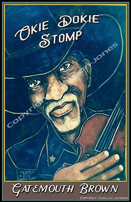 "Clarence ""Gatemouth"" Brown Okie Dokie Stomp Poster by Cadillac Johnson"