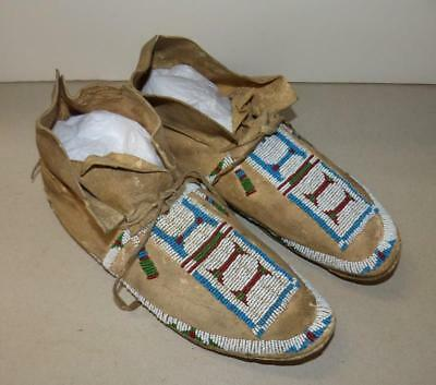 19Th Century Plains Beaded Mocassins - Sioux - Very Good Condition