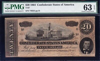 Amazing CHOICE UNCIRCULATED 1864 T-67 $20 CSA Confederate Note PMG 63 EPQ! 74633