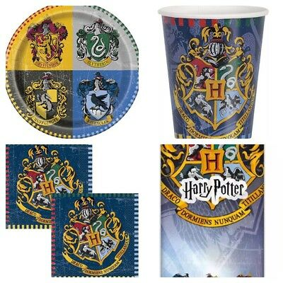 HARRY POTTER Birthday Party Kit For 8 Guests Cups Plates Napkins Table Cover