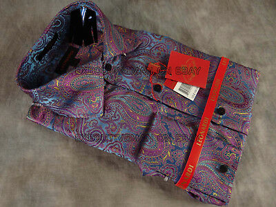 NEW Mens LEONARDI Dress Shirt Shiny Iridium Fuchsia Blue Gold Paisleys Button-Up