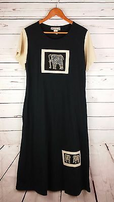 Better Things Short Sleeve Long Dress Hand Decorated Elephant Tribal Boho Hippie