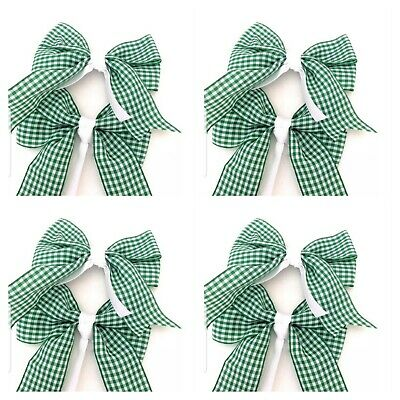 Handmade Girls Green Gingham  Hair School Clips Sold In Pairs On Croc Clips