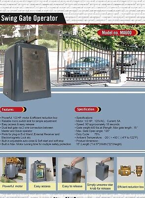 CYCLONE® MA600 1/2HP AC Powerful Commercial/Residential Swing Gate Operator