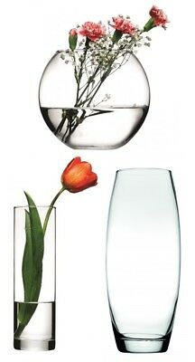 Clear Glass Flower Vase Small Large Tall Round Vintage Retro Bowl Vases Pot