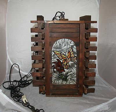 Vintage Redwood & STAINED GLASS Butterfly SWAG HANGING LAMP Works..