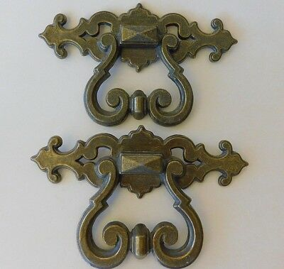 Vintage Brass Drawer Pulls Large Ornate Gothic Look Knobs Handles Hardware - Two